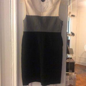 Theory black cream and grey tank dress